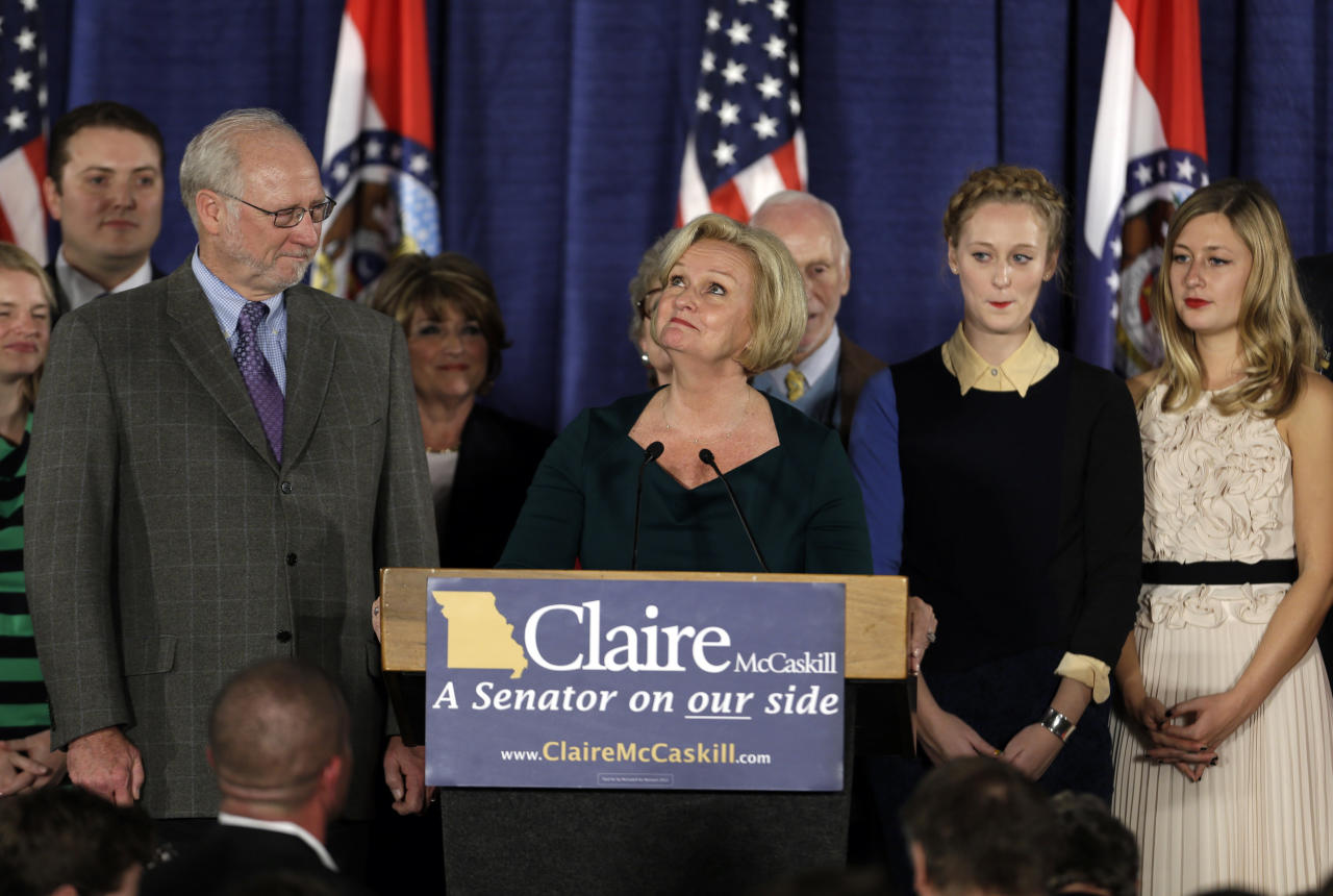 Flanked by family members, Sen. Claire McCaskill, D-Mo., looks up as she talks about her mother, Betty Anne McCaskill, who recently passed away, while declaring victory over challenger Rep. Todd Akin, R-Mo., in the Missouri Senate race Tuesday, Nov. 6, 2012, in St. Louis. (AP Photo/Jeff Roberson)