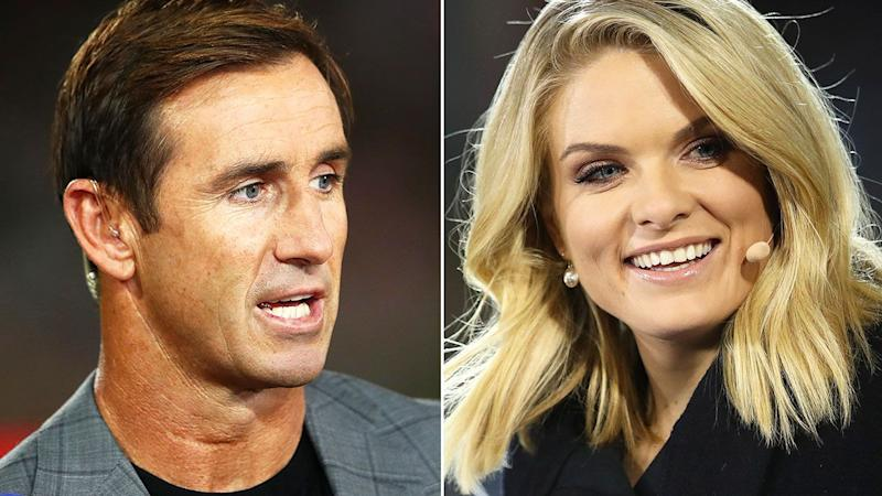 Andrew Johns and Erin Molan, pictured here during Channel Nine commentary stints.