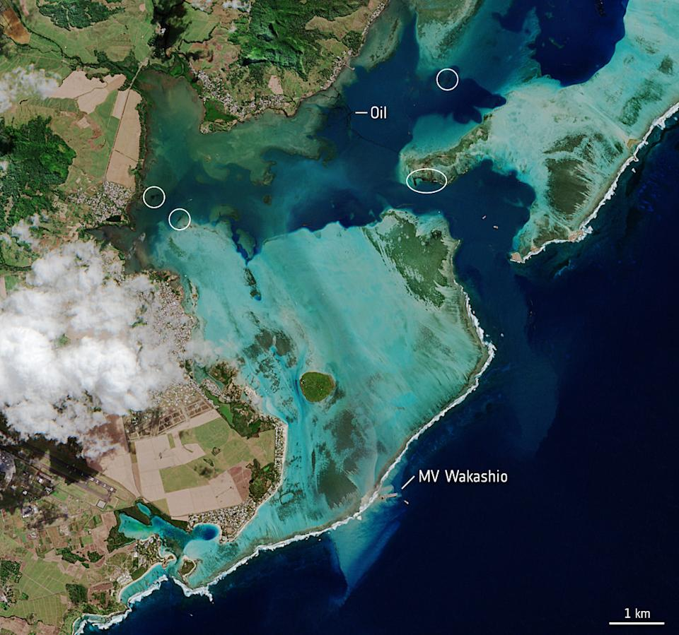 "The Copernicus Sentinel-2 captured this image on Aug. 11 of the island of Mauritius, which has declared a ""state of environmental emergency"" following an oil spill, from space. In the image, you can see the vessel MV Wakashio, which was reported to be carrying about 4,000 tons of oil, stranded near an important wetland area."