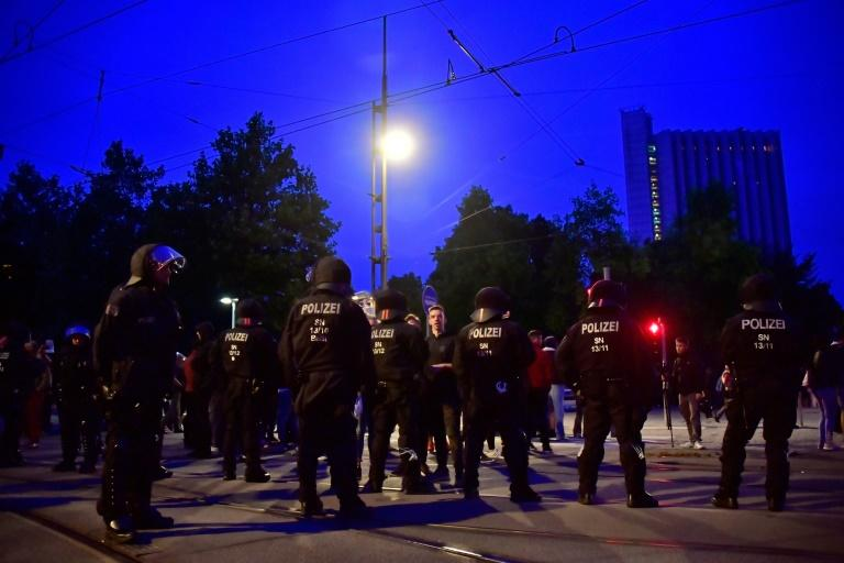 Local police, backed up by officers from across Germany, were out in force to keep both sides from clashing during the demonstrations