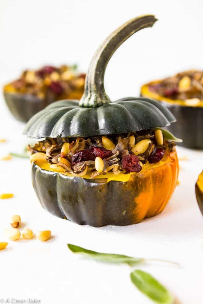 """<p>If you're in the mood for a nutritious main dish, serve this stuffed <a href=""""https://www.countryliving.com/food-drinks/g4685/acorn-squash/"""" rel=""""nofollow noopener"""" target=""""_blank"""" data-ylk=""""slk:acorn squash"""" class=""""link rapid-noclick-resp"""">acorn squash</a>. It's gluten-free and Whole30-approved too.</p><p><strong>Get the recipe at <a href=""""https://acleanbake.com/stuffed-acorn-squash/"""" rel=""""nofollow noopener"""" target=""""_blank"""" data-ylk=""""slk:A Clean Bake"""" class=""""link rapid-noclick-resp"""">A Clean Bake</a>.</strong> </p>"""