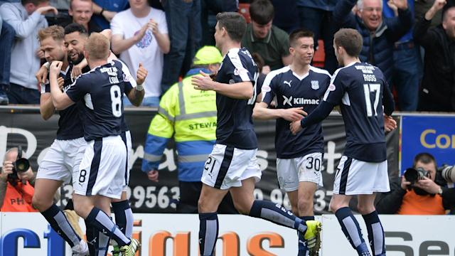 Dundee confirmed the relegation of fierce cross-town rivals Dundee United with a stirring second-half display on Monday.