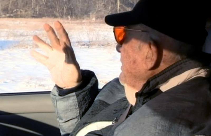 This still frame made from video provided by WNBC shows Tony Zerilli, alleged to be the underboss of Detroit's biggest crime family, during an interview with NBC, as he shows a reporter a field where he believes Teamsters boss Jimmy Hoffa is buried. Zerilli was in prison when Hoffa disappeared from a Detroit-area restaurant in 1975, but tells New York TV station WNBC he was informed about Hoffa's whereabouts after his release. The ailing 85-year-old took a reporter to a field near Rochester, north of Detroit, but no exact location was disclosed. (AP Photo/WNBC)