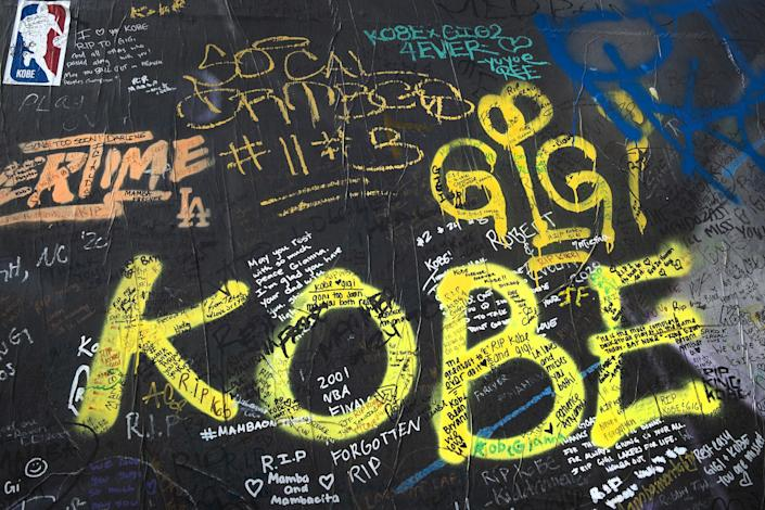 "Personal messages covered the lower portion of Thierry Guetta's mural honoring Kobe Bryant and his daughter Gianna in the 1200 block of South La Brea Avenue. <span class=""copyright"">(Los Angeles Times)</span>"