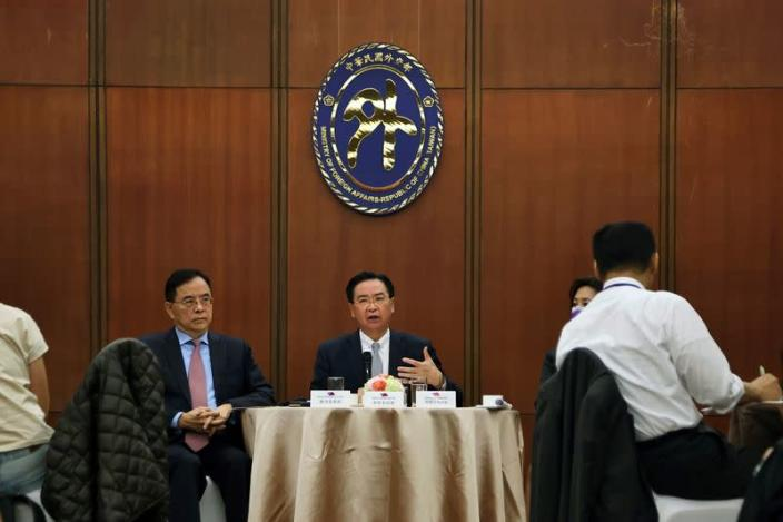 Taiwan Foreign Minister Joseph Wu attends a news conference in Taipei