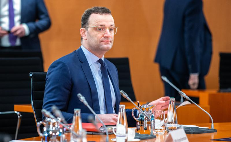 BERLIN, GERMANY - APRIL 01: Jens Spahn, Federal Minister of Health attends the weekly government cabinet meeting during the coronavirus crisis on April 1, 2020 in Berlin, Germany. Germany has so far registered over 68,000 cases of Covid-19 infection and 721 people have died. (Photo by Andreas Gora - Pool/Getty Images)