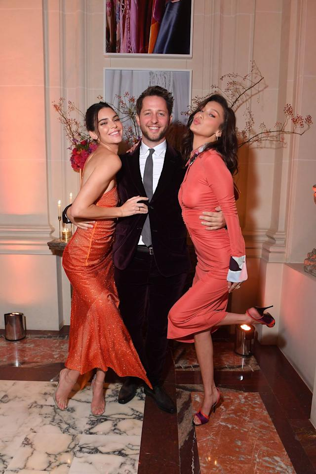 <p>The models wore red with fashion journalist Derek Blasberg at the YouTube party at Paris Fashion Week.</p>