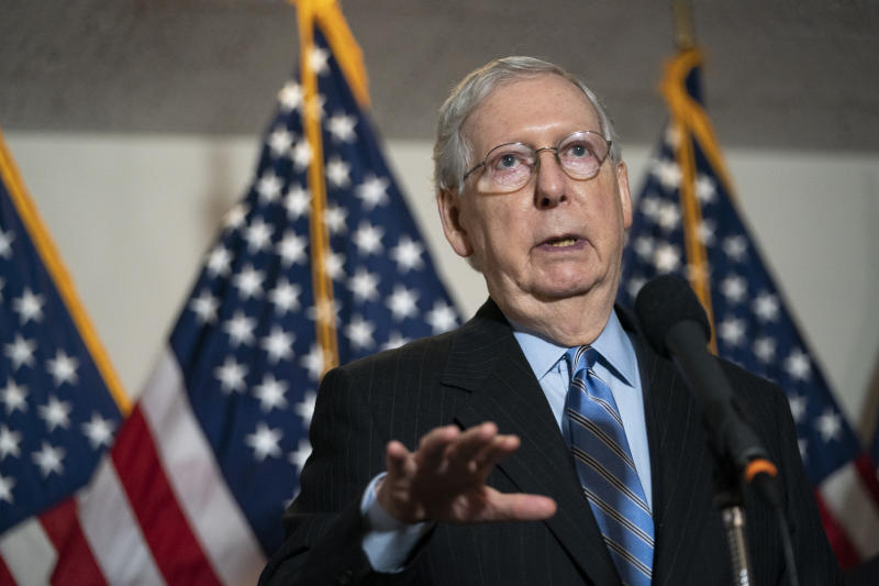 UNITED STATES - AUGUST 4: Senate Majority Leader Mitch McConnell, R-Ky., speaks during a news conference after the Senate Republican luncheon in the Hart Building in Washington on Tuesday, Aug. 4, 2020. (Photo by Caroline Brehman/CQ-Roll Call, Inc via Getty Images)