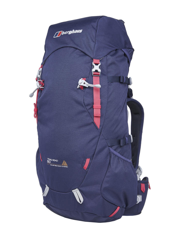 """<p><a rel=""""nofollow"""" href=""""http://www.berghaus.com/womens-trailhead-50-rucksack/421814.html""""><b>Berghaus Trailhead 50 Rucksack</b></a><b>, £95.</b><span> Available in both women and men's specific versions, this is a great mid-sized option – big enough for a multi-day trip when packing light, but not too bulky. Its adjustable back system creates a personalised fit, while the integrated rain cover will keep your belongings dry if the weather turns. [Photo: Berghaus]</span> </p>"""