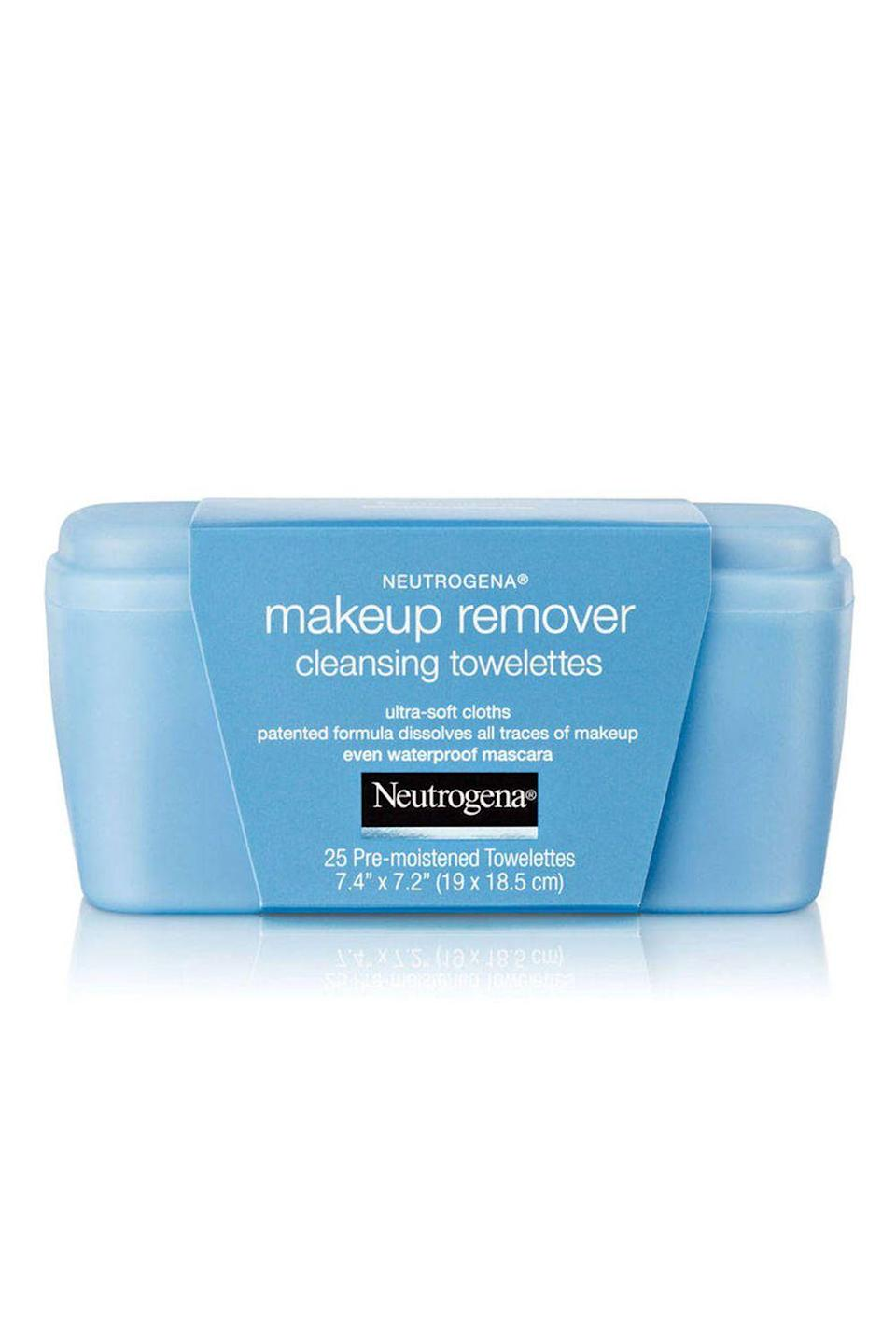 """<p><strong>Neutrogena</strong></p><p>ulta.com</p><p><strong>$10.99</strong></p><p><a href=""""https://go.redirectingat.com?id=74968X1596630&url=https%3A%2F%2Fwww.ulta.com%2Fulta%2Fbrowse%2FproductDetail.jsp%3FproductId%3DVP00172&sref=https%3A%2F%2Fwww.cosmopolitan.com%2Fstyle-beauty%2Fbeauty%2Fg19620718%2Fbest-makeup-remover%2F"""" rel=""""nofollow noopener"""" target=""""_blank"""" data-ylk=""""slk:Shop Now"""" class=""""link rapid-noclick-resp"""">Shop Now</a></p><p>All 25 of these premoistened makeup remover wipes are gentle enough to use around your eye area (yes, the formula even removes waterproof makeup) and <strong>can clear away foundation and <a href=""""https://www.cosmopolitan.com/style-beauty/beauty/g13108425/eyeshadow-palette-sets/"""" rel=""""nofollow noopener"""" target=""""_blank"""" data-ylk=""""slk:eyeshadow"""" class=""""link rapid-noclick-resp"""">eyeshadow</a> in just one swipe.</strong></p>"""