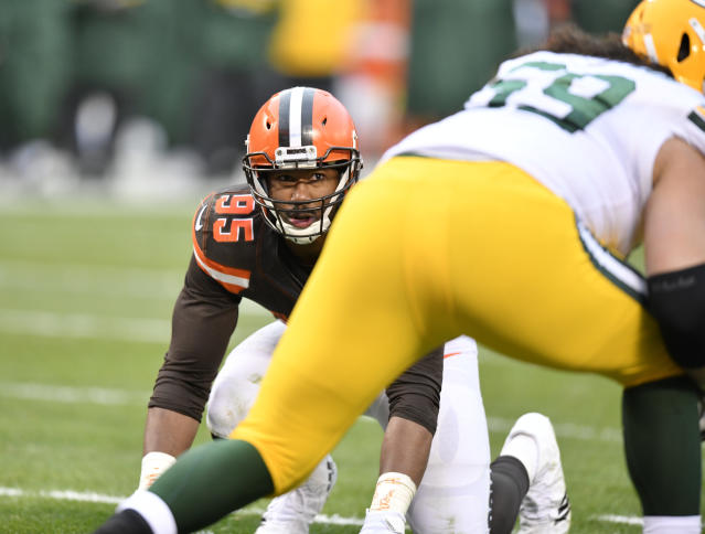 Defensive end Myles Garrett is one reason people believe the Browns will improve this season. (AP)