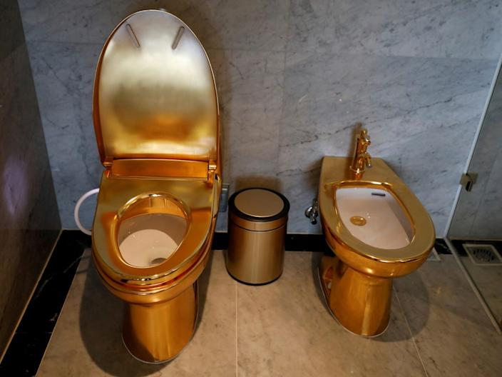 Gold-plated toilets are seen at the Dolce Hanoi Golden Lake hotel in Hanoi, Vietnam, on July 2, 2020.