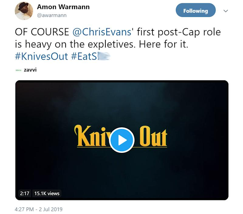 Knives Out tweet (Credit: Twitter)