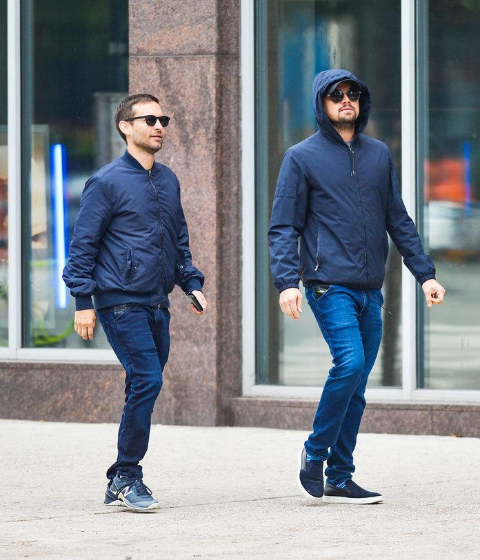 Leonardo DiCaprio and Tobey Maguire Wear Nearly Identical Outfits in NYC