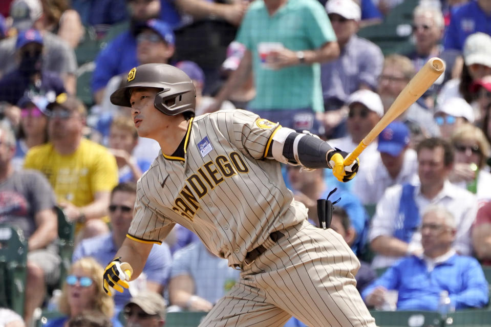 San Diego Padres' Ha-Seong Kim watches his RBI single off Chicago Cubs starting pitcher Adbert Alzolay in the fourth inning of a baseball game Wednesday, June 2, 2021, in Chicago. (AP Photo/Charles Rex Arbogast)