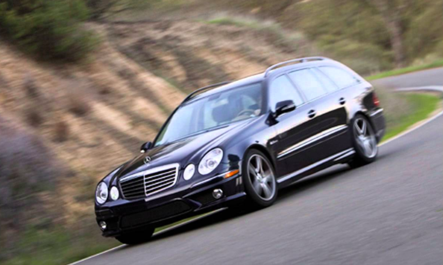 """<p>There are lots of AMG wagons out there, but this one stands out. The <a rel=""""nofollow"""" href=""""http://www.roadandtrack.com/new-cars/reviews/g3184/photos-mercedes-benz-e63-amg-wagon/"""">2007 E63 Wagon</a> was the first time the company dropped its magnificent 6.2-liter V8 into a wagon for America, and we couldn't be more grateful. </p>"""