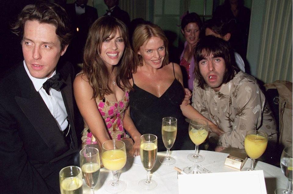 <p>Hugh Grant, Elizabeth Hurley, Patsy Kensit, and Liam Gallagher at the premiere of Mickey Blue Eyes after party on August 20, 1999 in London. Patsy and Liam were married in 1997 and divorced in 2000. </p>