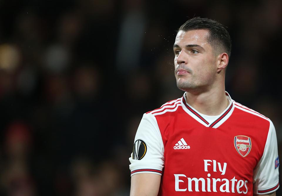LONDON, ENGLAND - NOVEMBER 28: Arsenal's Granit Xhaka during the UEFA Europa League group F match between Arsenal FC and Eintracht Frankfurt at Emirates Stadium on November 28, 2019 in London, United Kingdom. (Photo by Rob Newell - CameraSport via Getty Images)