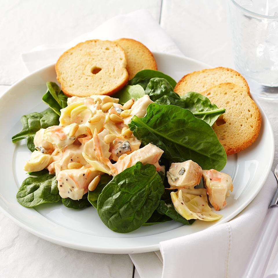 <p>This salad comes together in a snap. Using leftover chicken, canned artichoke hearts, packaged shredded carrots and a ready-made veggie dip, this quick-and-easy salad will be on your table in just 15 minutes!</p>