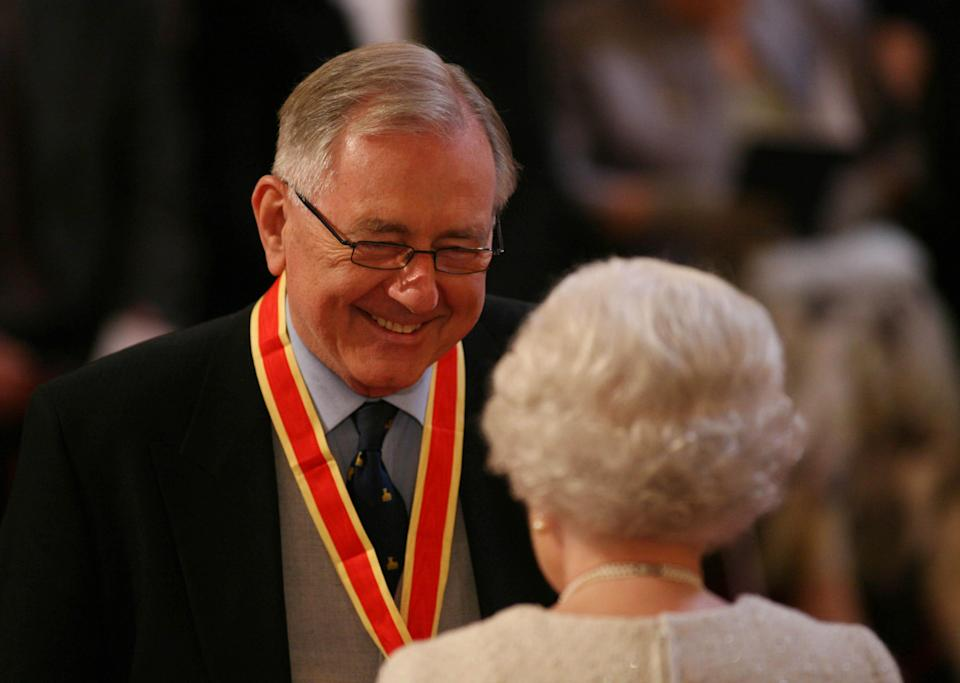 Sir Peter Bottomley is awarded his Knight Bachelor medal by Britain's Queen Elizabeth II during an investiture ceremony at Buckingham Palace, London.
