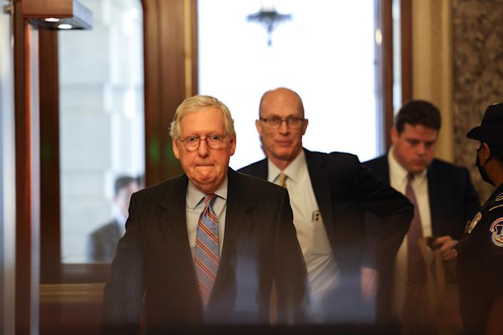WASHINGTON, DC - JULY 21: Senate Minority Leader Mitch McConnell (R-KY) arrives at the U.S. Capitol on July 21, 2021 in Washington, DC. The Senate is expected to hold a cloture vote on the bipartisan infrastructure bill later today. (Photo by Anna Moneymaker/Getty Images)