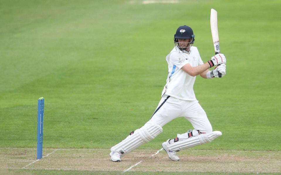 Joe Root fell one short of another first-class century as he was bowled for 99 against Glamorgan - PA