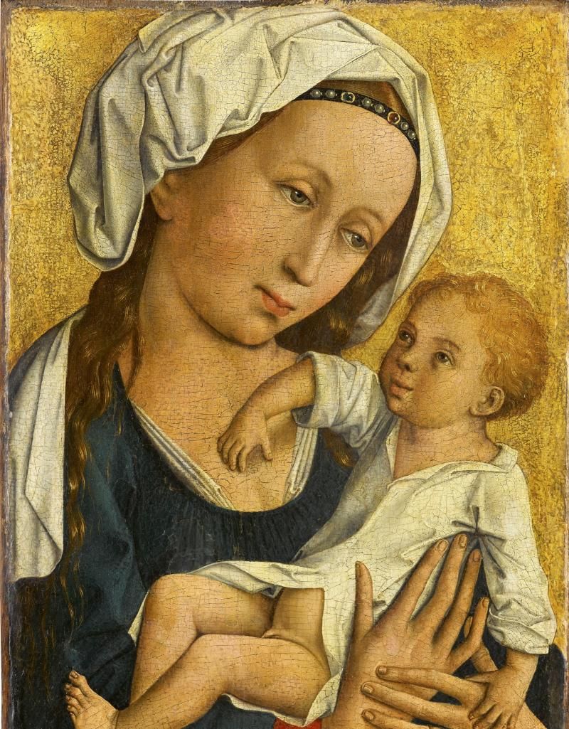 """The undated handout shows a reproduction provided Tuesday, March 5, 2013 by the Staatsgalerie Stuttgart of the painting """"Virgin withChild"""".  The Stuttgart museum has returned a 600-year-old painting to the estate of Jewish art dealer Max Stern, who was forced to sell his collection before fleeing Nazi Germany. The oil painting """"The Virgin with Child,"""" attributed to the Master of Flemaile — an unidentified Flemish artist from the early 1400s — was turned over by Staatsgalerie Stuttgart at a ceremony Tuesday at the Canadian Embassy in Berlin.  (AP Photo/dpa, Staatsgalerie Stuttgart)"""