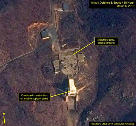 "A satellite image of North Korea's Sohae Satellite Launching Station (Tongchang-ri) which Washington-based Stimson Center's 38 North says, ""Rebuilding continues at the engine test stand"" is seen in this image released from Washington, DC, U.S., March 7, 2019.   Courtesy Airbus Defence & Space and 38 North, Pleiades © CNES 2019, Distribution Airbus DS/Handout via REUTERS"