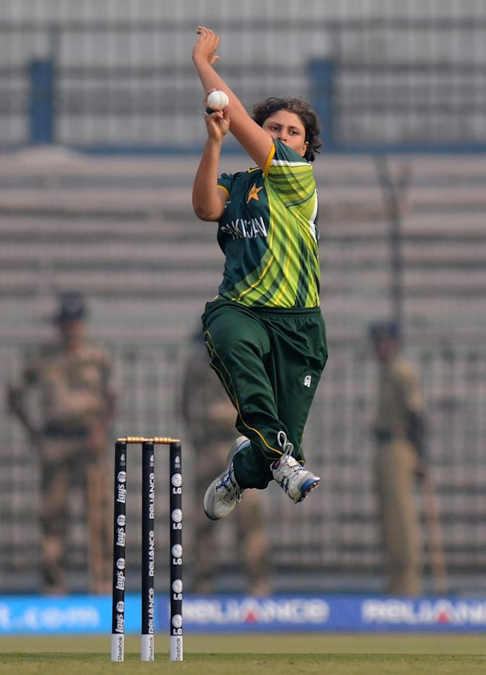 CUTTACK, INDIA - FEBRUARY 01:  Qanita Jalil of Paksitan bowls during the second match of ICC Womens World Cup between Australia and Pakistan, played at the Barabati stadium on February 1, 2013 in Cuttack, India.  (Photo by Pal Pillai-ICC/ICC via Getty Images)