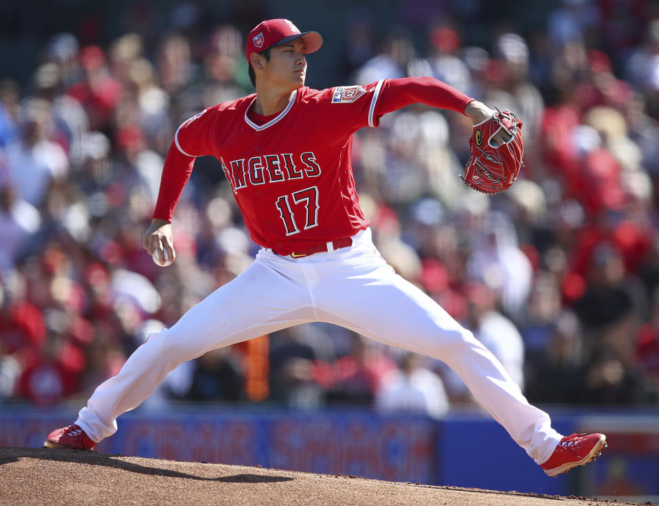 Shohei Ohtani gave us a glimpse of his filthy curveball during his second spring training pitching appearance. (AP)