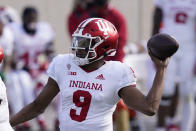 Indiana quarterback Michael Penix Jr. throws during the first half of an NCAA college football game against Michigan State, Saturday, Nov. 14, 2020, in East Lansing, Mich. (AP Photo/Carlos Osorio)