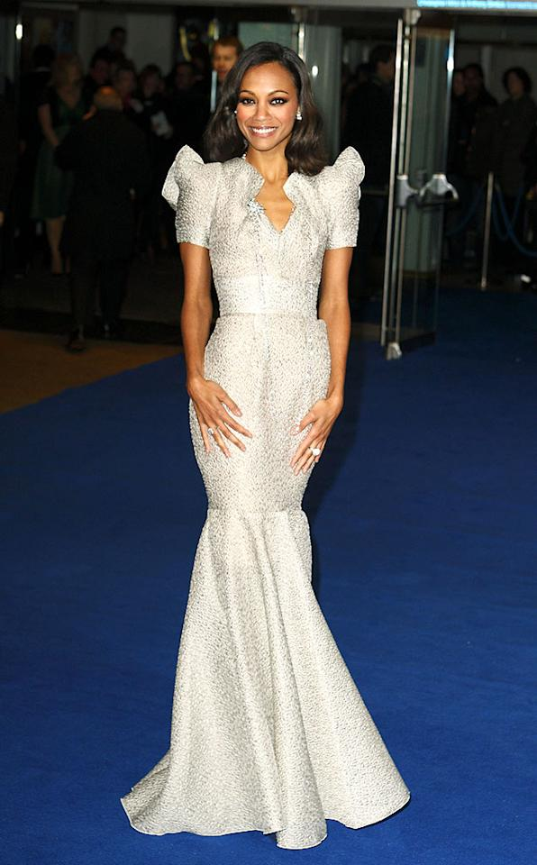 "Star of the night in her picturesque RM by Roland Mouret gown, ""Avatar's"" Zoe Saldana commanded attention on the blue carpet at the world premiere of James Cameron's latest blockbuster in London, England. Mike Marsland/<a href=""http://www.wireimage.com"" target=""new"">WireImage.com</a> - December 10, 2009"
