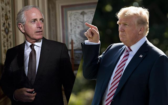 Bob Corker, Donald Trump. (Photos: Andrew Harrer/Bloomberg via Getty Images, Drew Angerer/Getty Images)
