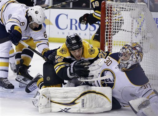 Boston Bruins right wing Shawn Thornton (22) falls onto Buffalo Sabres goalie Ryan Miller (30) during a scoring bid as Sabres defenseman Mike Weber (6) comes in during the second period of an NHL hockey game in Boston, Wednesday, April 17, 2013. (AP Photo/Elise Amendola)