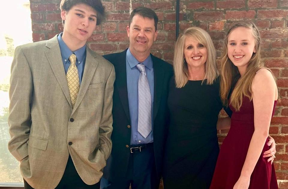 Jamie Seitz (second from left) was a teacher and coach at Lincoln Charter School in Denver, N.C. He died from COVID-19 on Dec. 27, 2020 at age 51. From left is Seitz's family: Son Carter, Jamie, wife Liz and daughter Peyton.