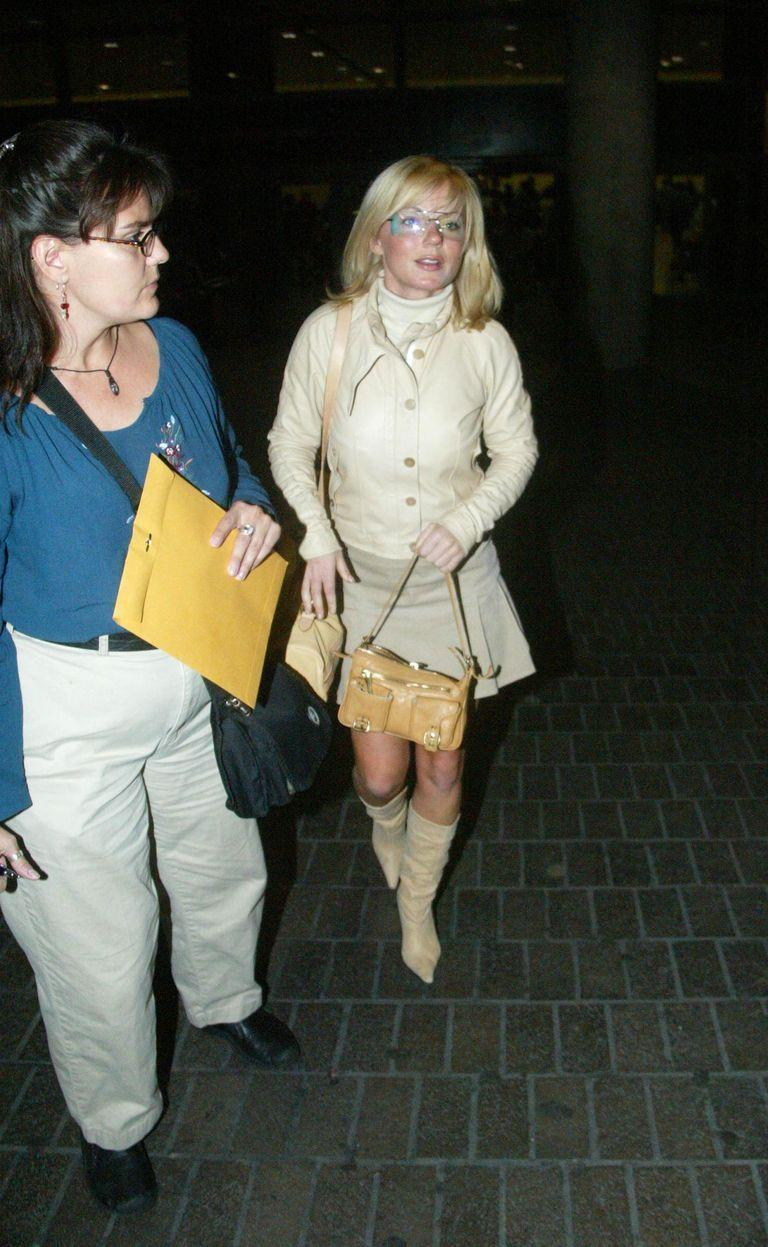 <p>Geri Halliwell makes her way through Los Angeles International Airport after arriving on a flight in a cream colored outfit. </p>