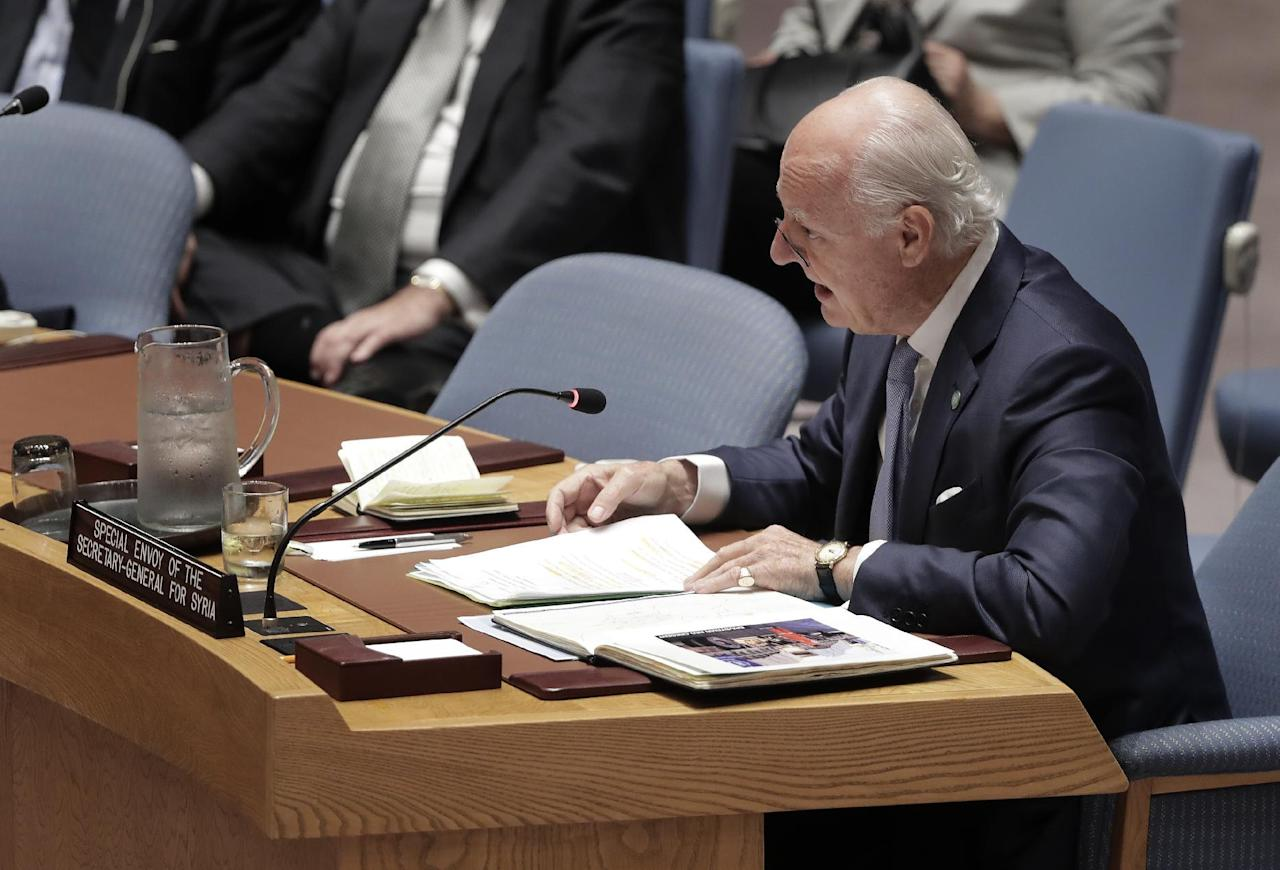 Staffan de Mistura, UN Special Envoy for Syria, speaks during a Security Council meeting, Wednesday, Sept. 21, 2016, at U.N. headquarters. (AP Photo/Julie Jacobson)