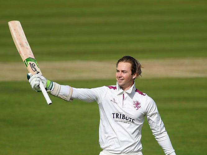 Eddie Byrom of Somerset celebrates reaching his century (Getty)