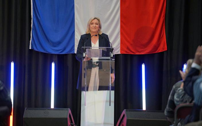 French far-right National Rally leader Marine Le Pen delivers a speech on election night - Getty Images Europe