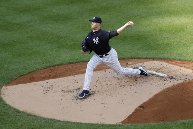 New York Yankees starting pitcher James Paxton winds up during an intrasquad baseball game Wednesday, July 15, 2020, at Yankee Stadium in New York. (AP Photo/Kathy Willens)