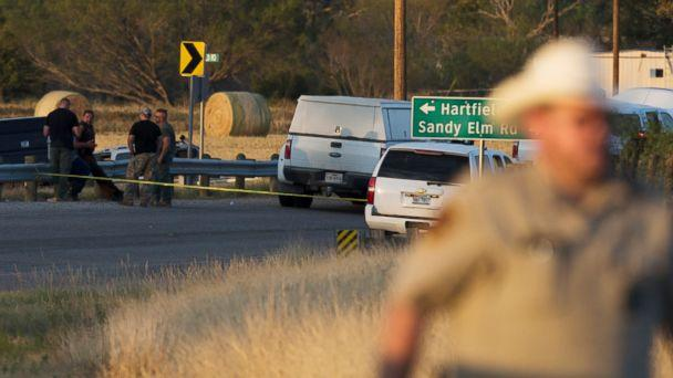 PHOTO: Authorities work the scene where the suspect of a deadly church shooting was found dead in his vehicle near the intersection of FM 539 and Sandy Elm Road in Guadalupe County, Texas, Nov. 5, 2017. (William Luther/The San Antonio Express-News via AP)
