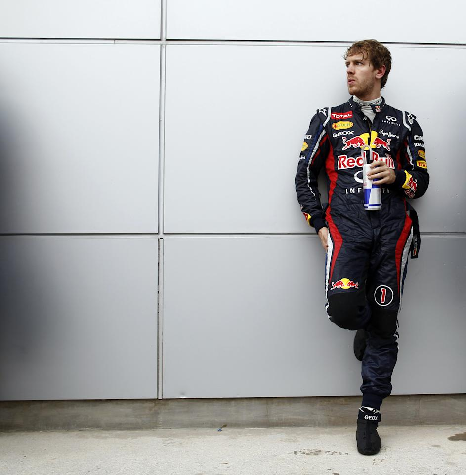 KUALA LUMPUR, MALAYSIA - MARCH 25:  Sebastian Vettel of Red Bull Racing looks on during the Malaysian Formula One Grand Prix at the Sepang Circuit on March 25, 2012 in Kuala Lumpur, Malaysia.  (Photo by Jiri Krenek/isifa/Getty Images)