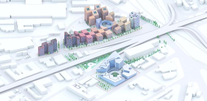 A rendering shows how the project will be divided by a preexisting strip of highway.