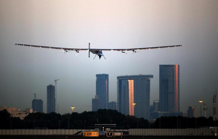 Solar Impulse 2, seen here during a test flight on March 2, 2015, landed Monday in Oman, completing the initial leg of its epic bid to become the first solar-powered plane to fly around the world, in a test of its pilots' endurance (AFP Photo/Marwan Naamani)