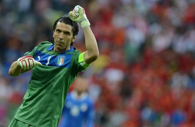 Italian goalkeeper Gianluigi Buffon waves at the end of the Euro 2012 championships football match Spain vs Italy on June 10, 2012 at the Gdansk Arena. AFP PHOTO / CHRISTOF STACHECHRISTOF STACHE/AFP/GettyImages