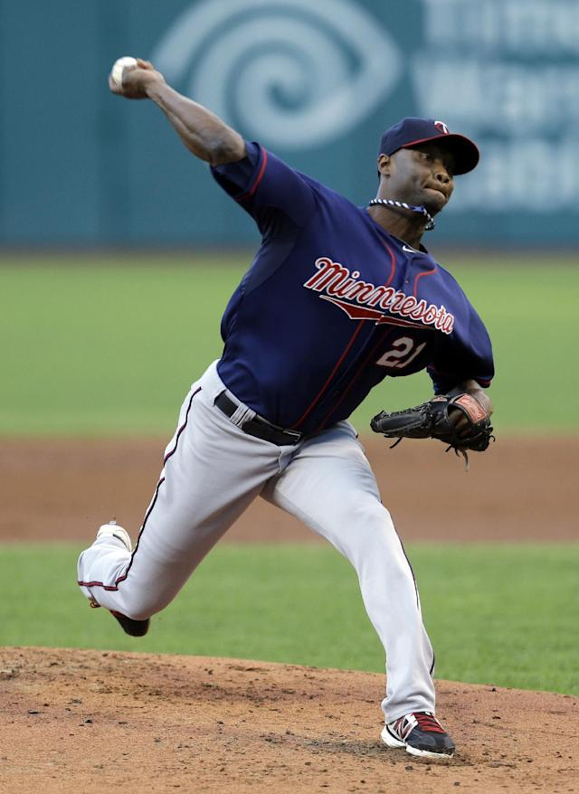 Minnesota Twins starting pitcher Samuel Deduno delivers in the first inning of a baseball game against the Cleveland Indians, Friday, Aug. 23, 2013, in Cleveland. (AP Photo/Tony Dejak)