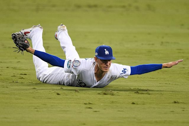 Cody Bellinger was the hero in the outfield and at the plate for the Los Angeles Dodgers in Game 4 of the NLCS. (Getty Images)