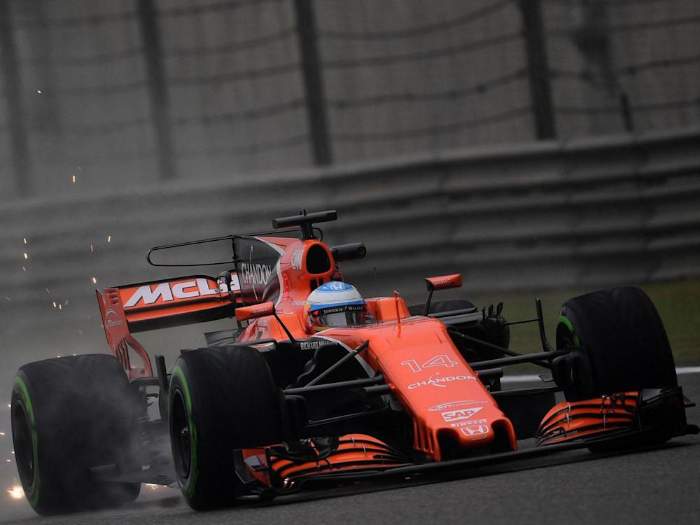 Alonso in action for McLaren at the Russian GP
