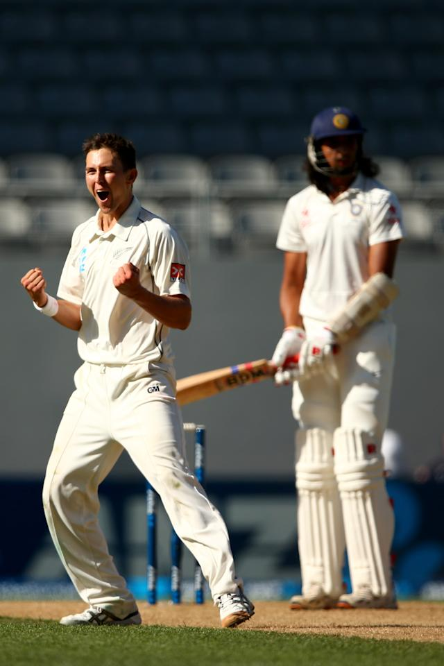 AUCKLAND, NEW ZEALAND - FEBRUARY 09:  Trent Boult of New Zealand celebrates his wicket of Ishant Sharma of India during day four of the First Test match between New Zealand and India at Eden Park on February 9, 2014 in Auckland, New Zealand.  (Photo by Phil Walter/Getty Images)