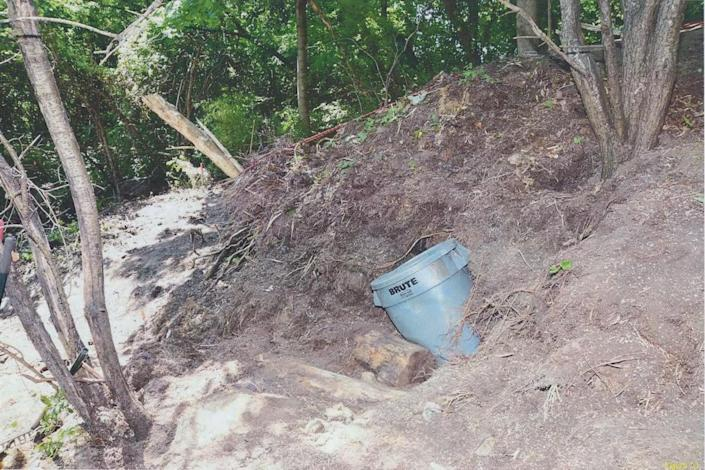 <p>Photographs of the ravine behind 53 Mallory Cres. where investigators found an eighth set of remains, belonging to Majeed Kayhan, who disappeared on Oct. 18, 2012. (Photo provided by the Crown) </p>